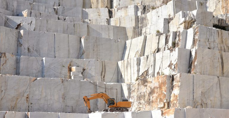 Marble,Quarry,With,A,Excavator,Loader,,Open,Mining,,Italy