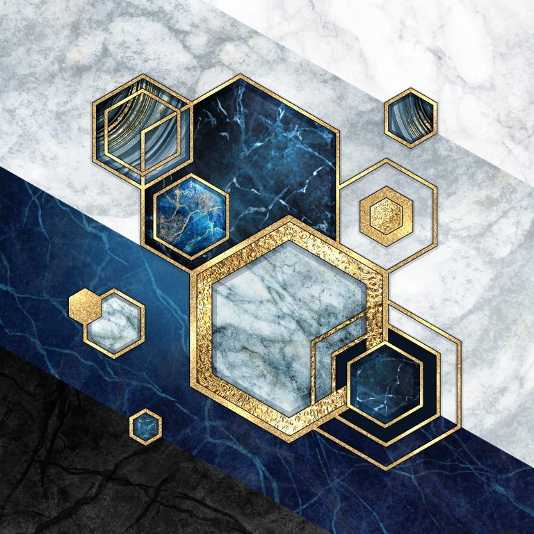 Abstract,Geometric,Background,,Hexagonal,Shapes.,Modern,Marble,Mosaic,Inlay,,Art