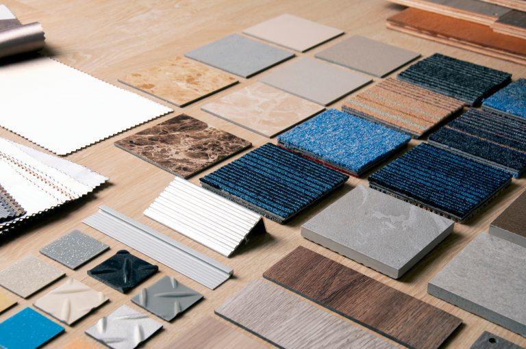 Sample,Of,Materilas,Disign,With,Stanless,Steel,,Carpet,,Wood,,Vinyl,